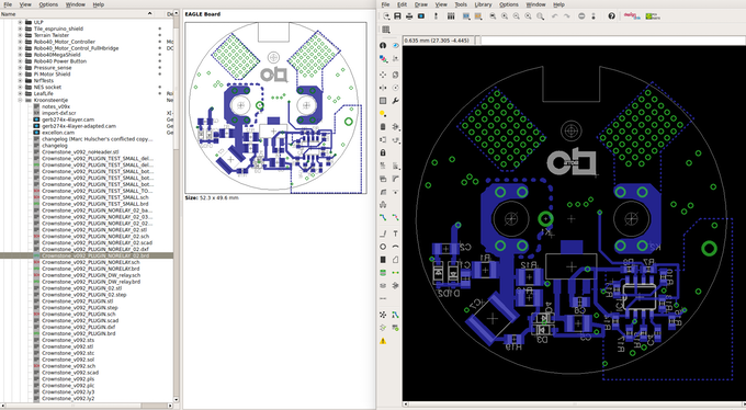 The design of one of the PCBs