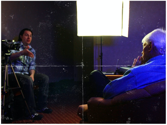 Documentarian Daniel Griffith interviewing actor Tim Thomerson