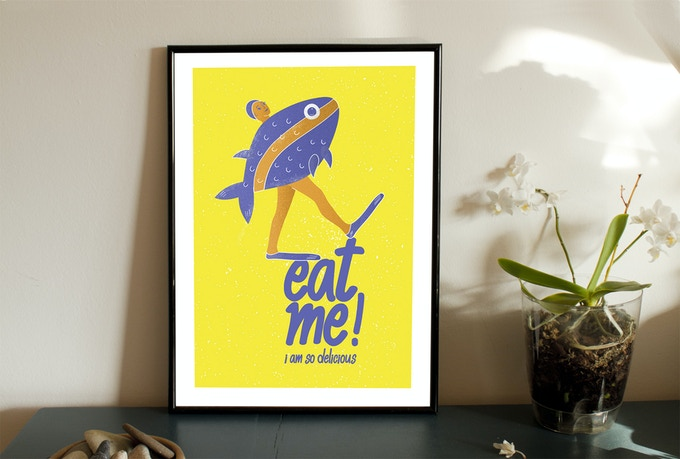 Art Poster with The Fish, handprinted, from series of 8