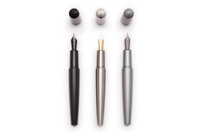 Black Steel Nib (Left), 14K Gold Stub Nib (Middle), Titanium Nib (Right)