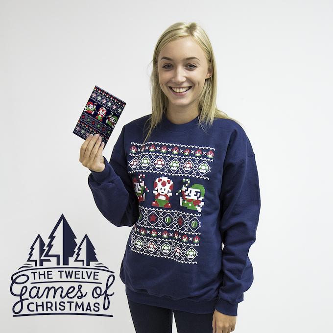 Super Christmas Bros printed Christmas Sweater and Card