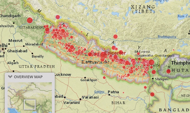 Nearly 400 aftershocks. Map courtesy of Esri.
