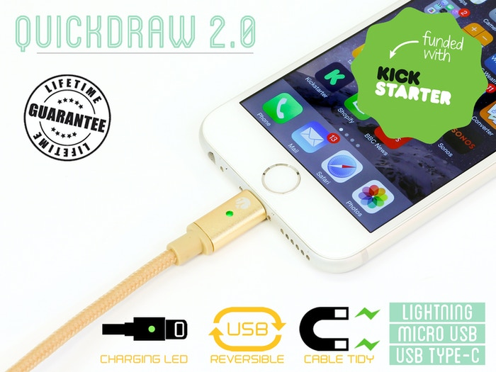 The finest quality charging cable packed with functions, like the LED charging light, reversible USB & magnetic cable tidy. All wrapped in a beautiful elegant design and backed with a lifetime warranty.For iPhone, Android and USB Type C.