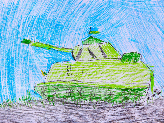 """Ukrainian tank"" childs drawing"