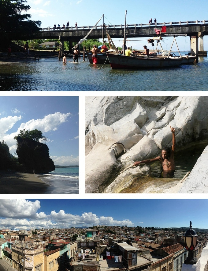 [1] Fishing in the East, [2] Alain enjoying a swim, [3] Santiago de Cuba, [4] The deserted beaches of Baracoa