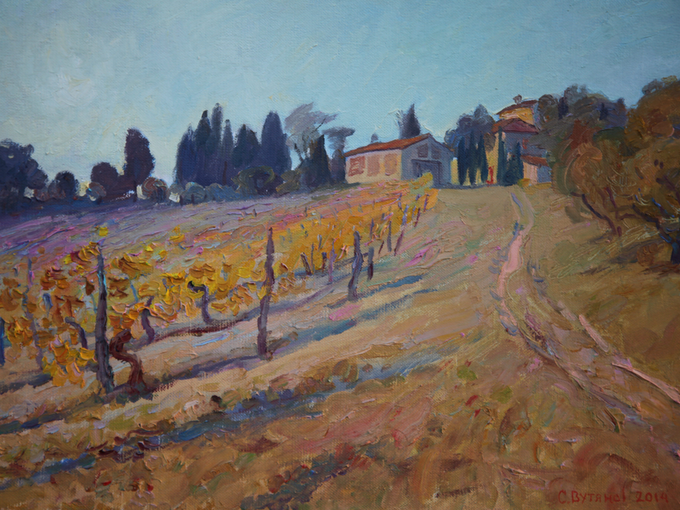 Painting of the film location in Italy by the production designer Sergiy Vutyanov