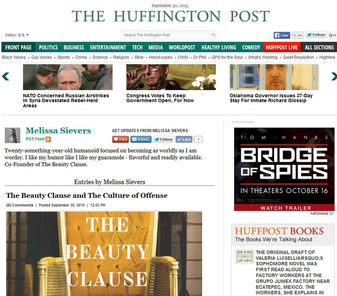 The Beauty Clause as seen on The Huffington Post