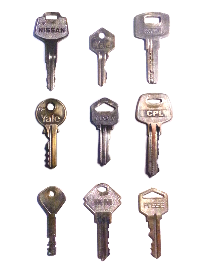 All your flat keys will fit, regardless of length or hole size.