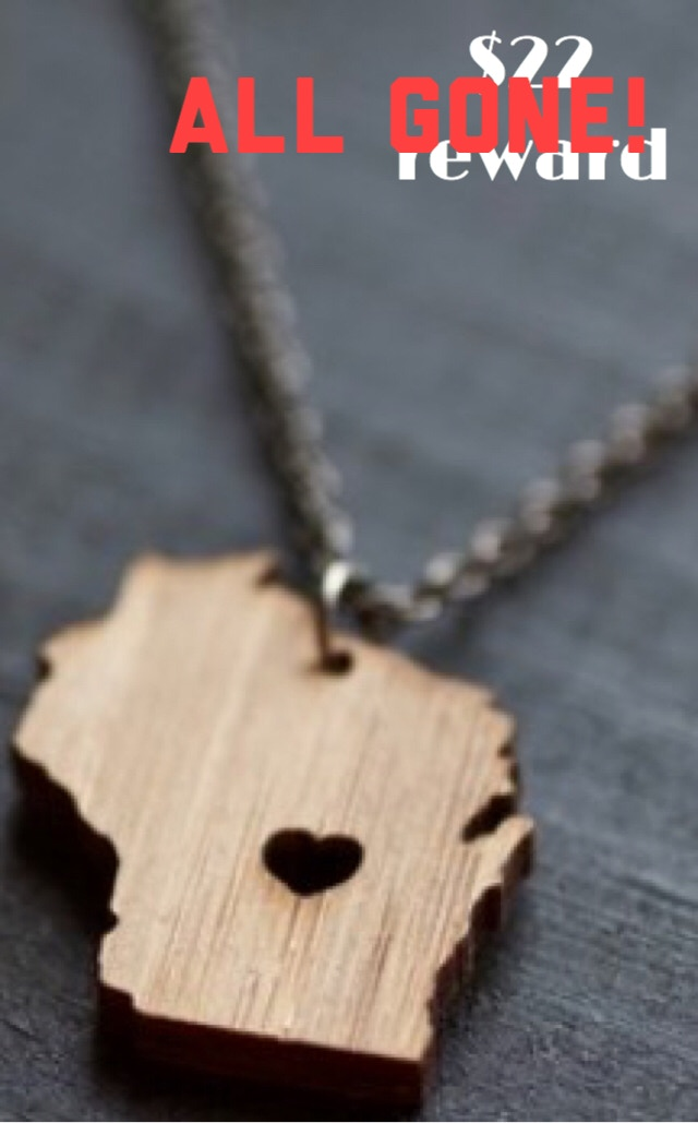 Bamboo Wisconsin pendant necklace created by Waxwing shop artist Truche ALL GONE!