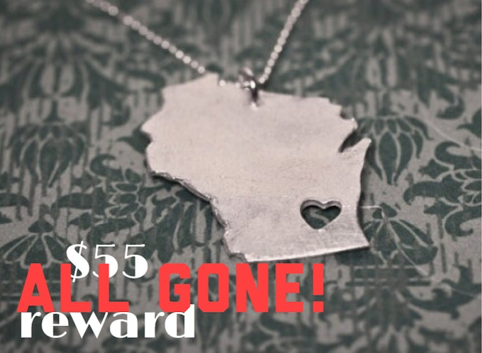 Silver Wisconsin pendant necklace by Waxwing shop artist Truche, ALL GONE!