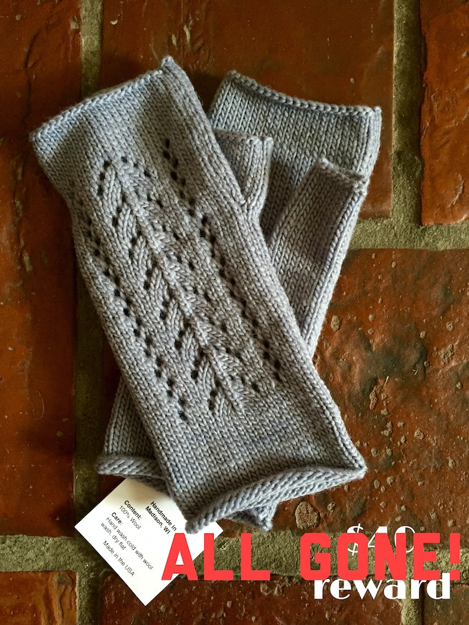 100%vwool fingerless mittens created by Waxwing shop artist Pointelle Design, ALL GONE!