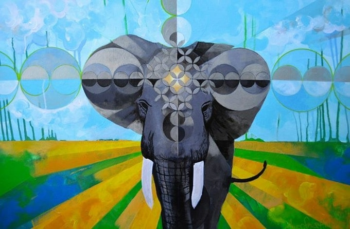 """""""Elephant Power Mandala"""" from Alec Hamilton's 'Spirit Animal' limited editions available as print, canvas, hoodie or t-shirt."""