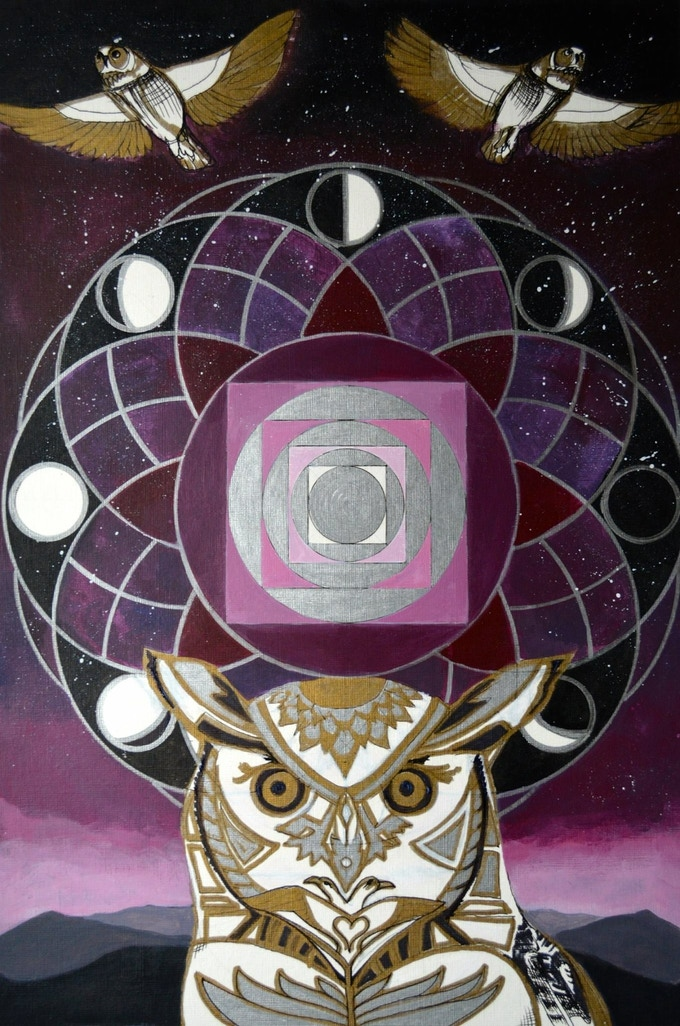 """""""Night Owl Mandala"""" available as print to canvas."""