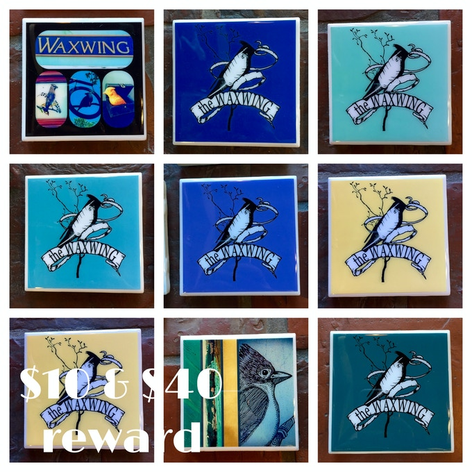 Ceramic Tile Coasters created by Waxwing shop artist Orange Pops, choose one for $10 or a set of 4 for $40!