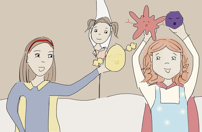 Rose and her friends put on an immune cell superhero performance