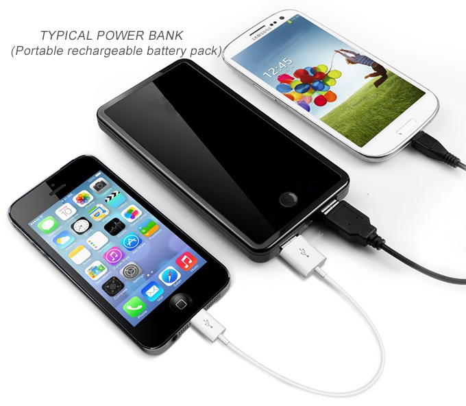 Example of typical rechargeable power bank