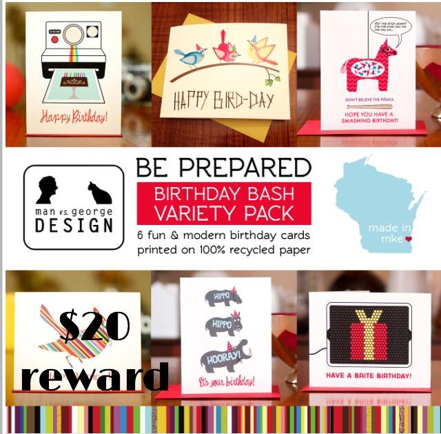 Birthday Card Variety Pack created by Waxwing Shop artist Man vs. George, $20 reward