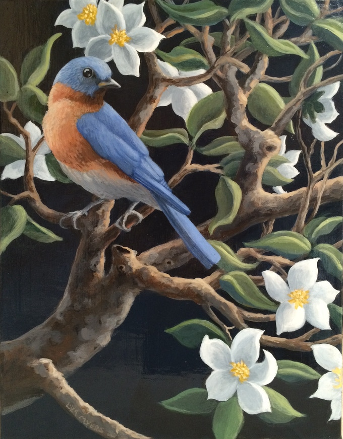 "Bluebird with Apple Blossoms is available as a print in two sizes: 11"" x 14"" and 16"" x 20"". It is beautifully printed on canvas and is ready to hang on your wall!"