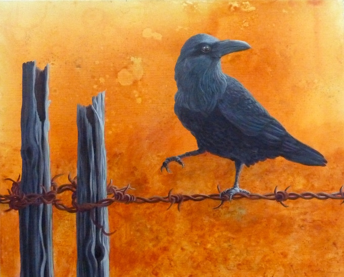 "Raven on a Wire is available as a beautiful, high quality print on canvas, ready to hang on your wall. It's available 11"" x14"" and 16"" x 20""."