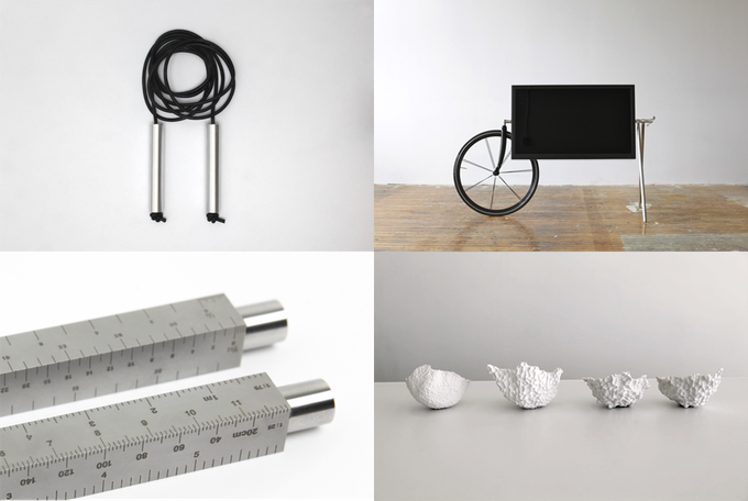 (clockwise from top-left) Jumprope, TV Barrow, Roto-Jam, Architect's Scale
