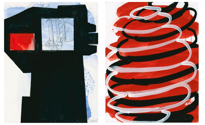 "Jane Kent, ""For Joy 1"" (left)  and ""For Joy 2"" (right),  2015, gouache on paper, each 8 1/2 x 11"""