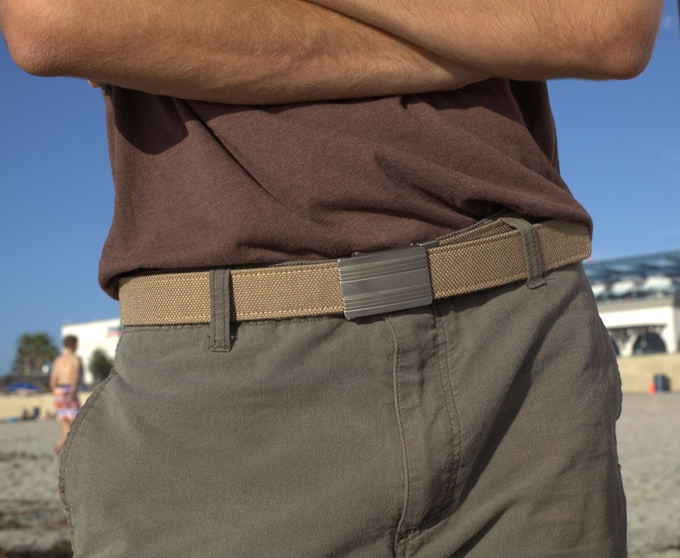 Monterey Silver Buckle with Dark Khaki Belt