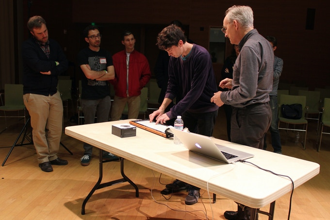 "Instrument inventor Roger Linn allows attendees to try playing the ""Linnstrument"" (NMG2015)"