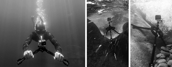 Pakpod is much more than a tripod. Transform it quickly into whatever you need - above or below the surface.