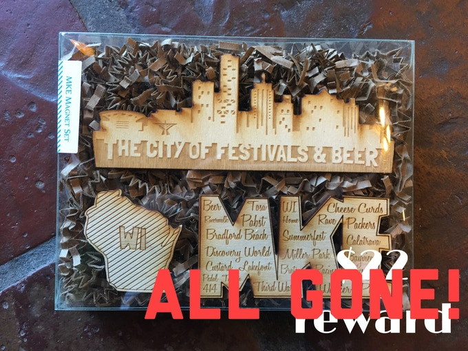 Set of 3 wooden Milwaukee Magnets created by Waxwing shop artist Paper Pleasers, ALL GONE!