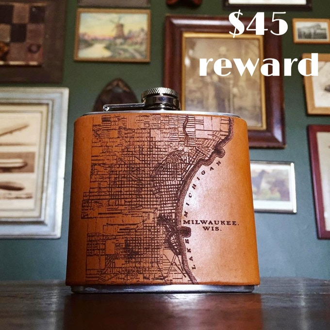 Leather-bound Milwaukee Map flask created by Waxwing shop artist Tactile Craftworks and back by popular demand, $45 reward