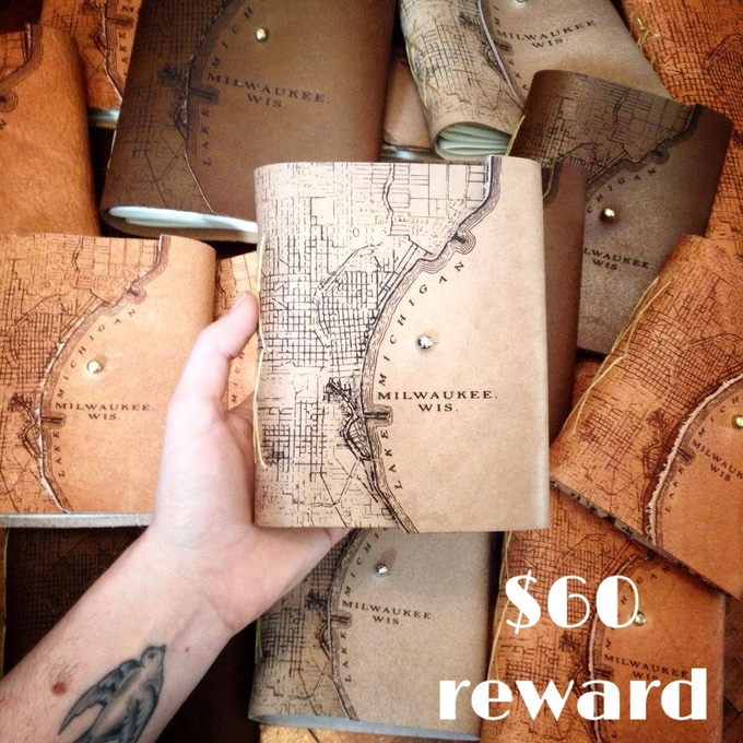 Small leather-bound Milwaukee map journal created by Waxwing shop artist tactile Craftworks and back by popular demand, $60 reward