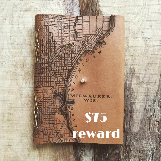 Large leather-bound Milwaukee map journal created by Waxwing shop artist Tactile Craftworks and back by popular demand, $75 reward