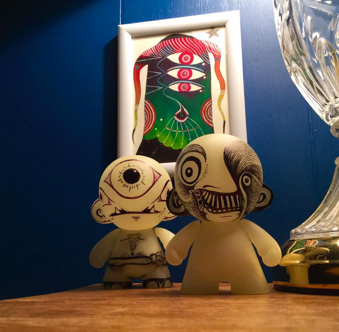 Glow in the dark munny's in various stages of completion