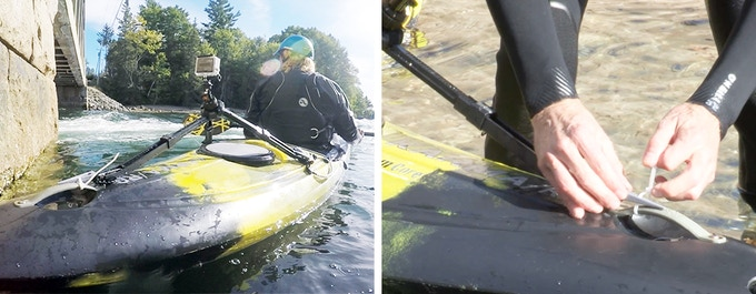 Tie-wraps through stake slots = secure tripod-to-kayak connections.