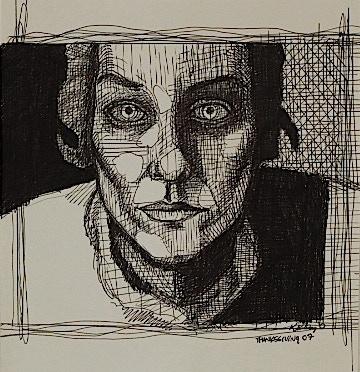 """Pen & Ink Portrait, """"Noodles"""""""