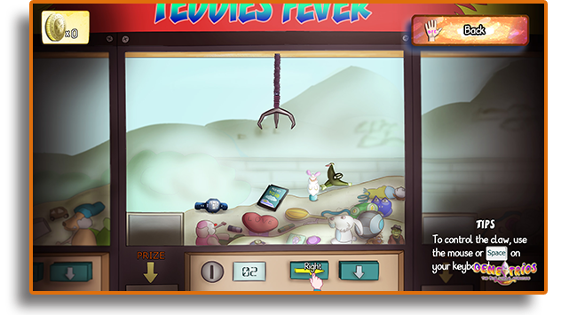 One of the mini-games in the story, the Claw Machine