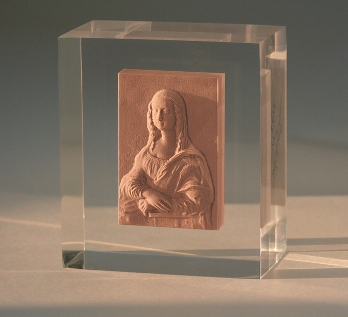 Pledge $200 or more and choose the Mona Lisa, George Washington Crossing the Delaware or Dr. Gachet, digitally sculpted in 3D and embedded in a block of clear acrylic.
