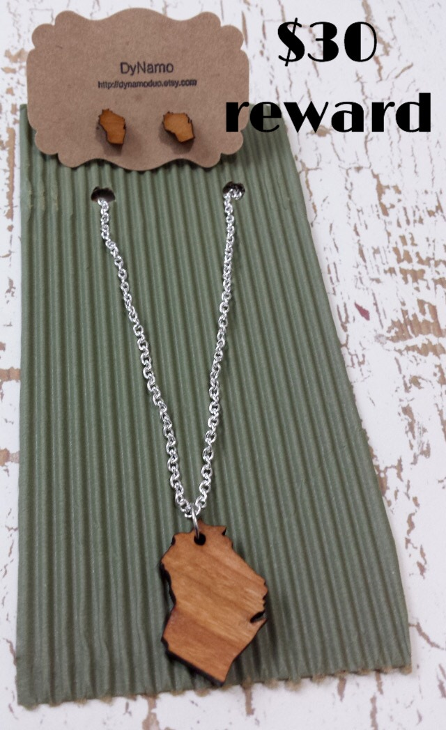 Wooden Wisconsin post earrings and pendant necklace created by Waxwing shop artist Dynamo, $30 reward