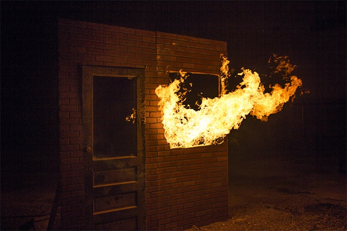 Behind the scenes of us shooting window-framed fires.