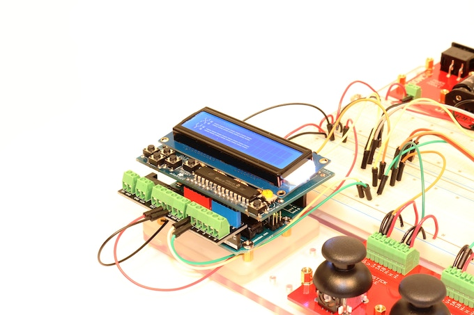Arduino and LCD being used with JIGMOD system to develop code for servos