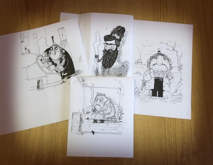 Variety of original ink drawings by Seb Burnett