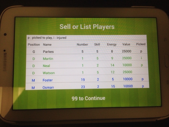 Sell or List players code running on Android