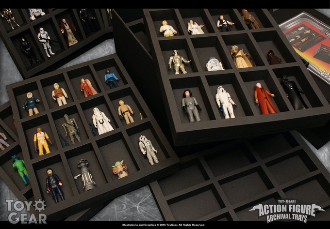 """Action figures nestling comfortably in our first 4"""" sample tray"""