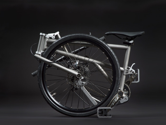 Big wheels. Titanium frame. Smaller, lighter, safer and easier to use than any other folding bike in the world. Made in Canada.