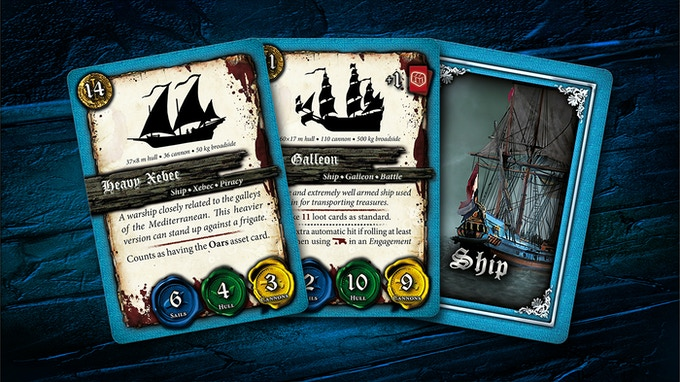 A couple of player ship cards.