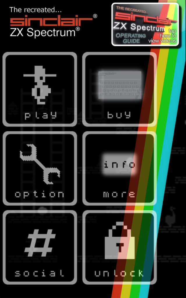 Caption: Main menu of the entirely new Recreated ZX Spectrum Android app, which is agonisingly close to completion.