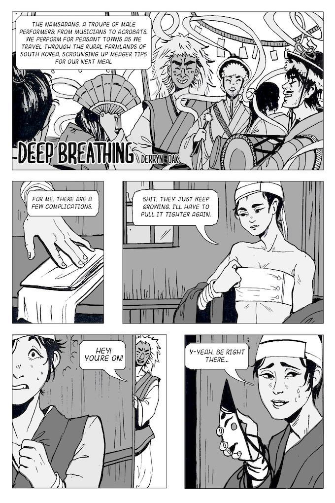 """Page 1 of """"Keep Breathing"""" by Derryn Oak"""