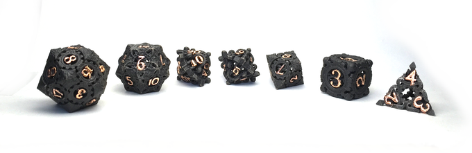 Full polyhedral set with black finish and copper gilding
