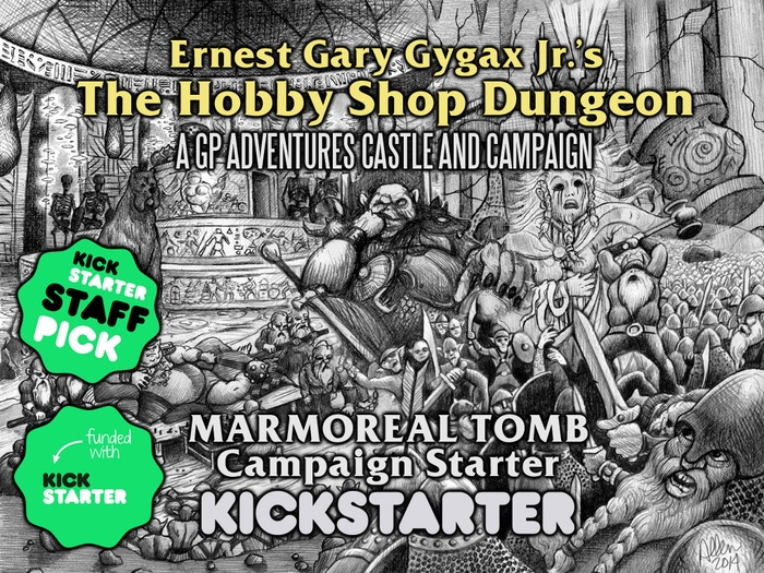 The Marmoreal Tomb Campaign Starter is Ernest G. Gygax Jr.'s opening module for fantasy tabletop RPGs in The Hobby Shop Dungeon series.