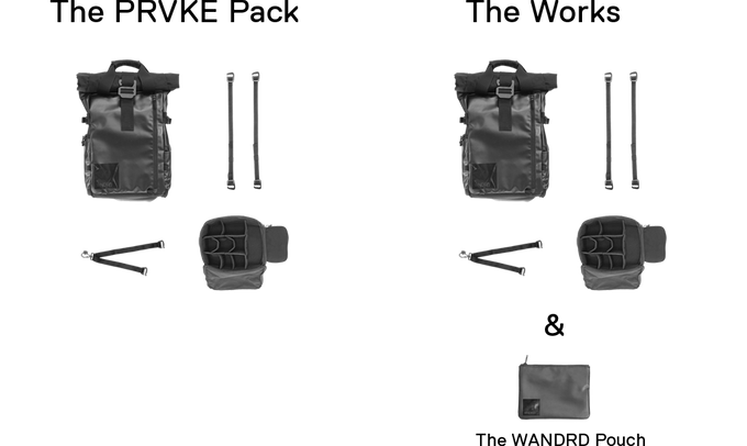 With the PRVKE Pack you get the removable cube system, two accessory straps, and a camera sling. With the WORKS, you get all of that plus the WANDRD Pouch.